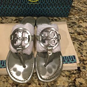 Authentic Tory Burch Silver Miller Sandals